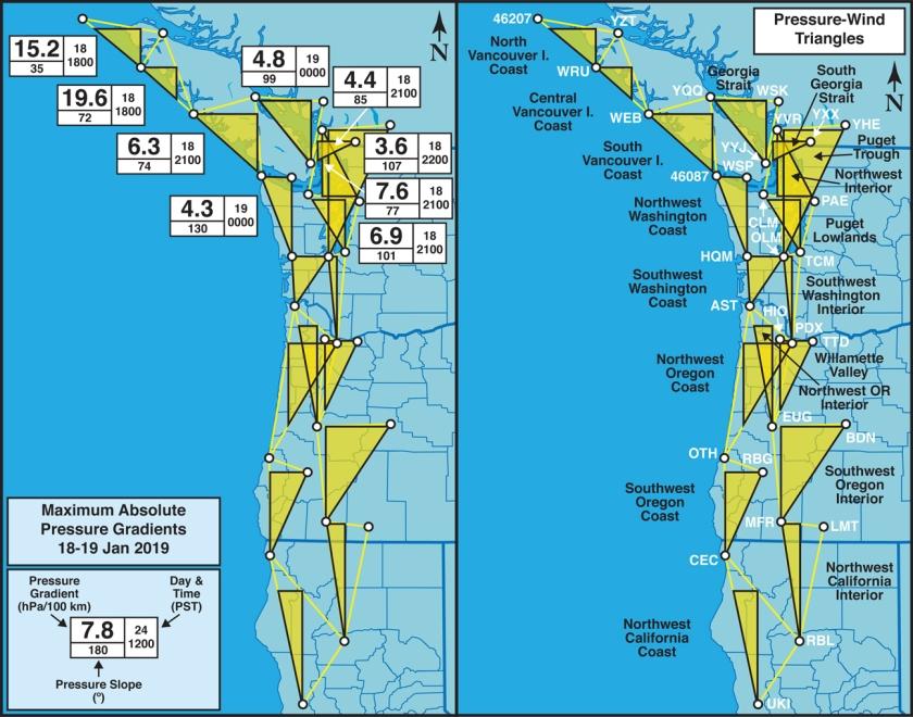 c4c0773fb05 CoquitlamWX GeostrophicWindTriangles PressureWind Map CAORWABC 20190118Windstorm PeakGradients 18Jan2019 PlusKey 18in 72dpi